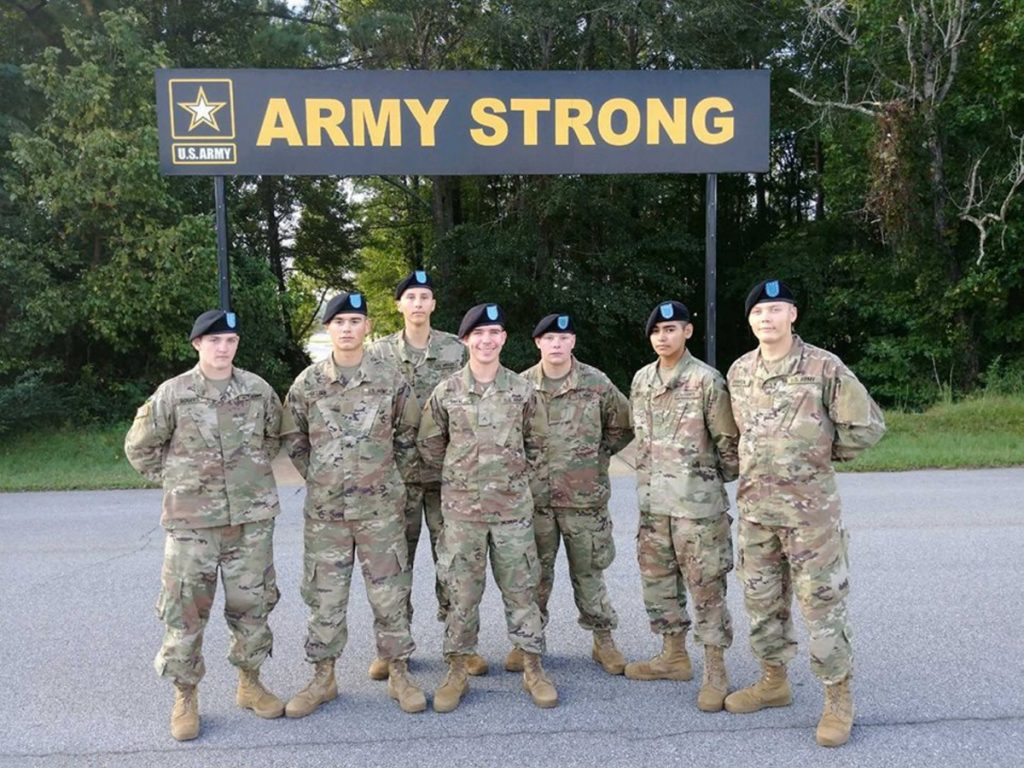 Austin Seeley, 19, of Farmington, third from the right in this group shot, left his Army post at Fort Campbell, Kentucky, and was advised by his father to turn himself in to the Franklin County sheriff. Anthony Seeley, Austin's father, a combat veteran, said his son has been hazed and put in unnecessarily dangerous situations by his team leader.