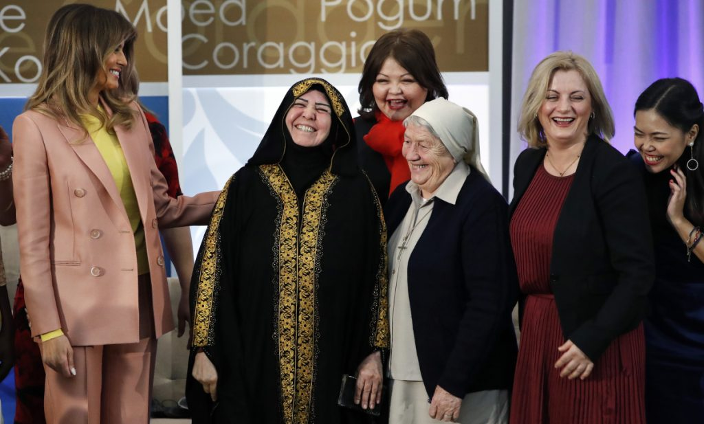 Melania Trump congratulates winners of the International Women of Courage awards Friday in Washington. The honorees, from left, are Aliyah Khalaf Saleh of Iraq, Aiman Umarova of Kazakhstan, Sister Maria Elena Berini of Italy, Dr. Feride Rushiti of Kosovo and Sirikan Charoensiri of Thailand.