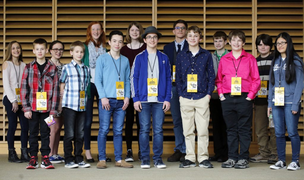 "PORTLAND, ME - MARCH 24: Champions from 14 Maine counties competed in the 2018 Maine State Spelling Bee n Saturday at University of Southern Maine for the chance to represent the state at the Scripp's National Spelling Bee in Washington, D.C. Colin Aponte, sixth from left, won the comtest by successfully spelling ""crescendo."" From left: Taylor Pelletier, Gage Taylor, Marilyn Worcester, William White, Moriah Reusch, Colin Aponte, Kaitlyn Bartash, Thomas Brearley, Nathanael (cq) Brown, Isaac Wyer, Samuel Scala, Jack Steere, Max Sanborn, Fatima Herrera Vargas. (Staff photo by Ben McCanna/Staff Photographer)"