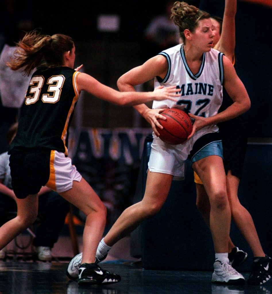 Stacey Porrini Clingan, shown as a senior in 1997 with the University of Maine women's basketball team, remains near the top of the Black Bears' career leaders in scoring and rebounding. Clingan died Tuesday at 42. (Staff photo by Gregory Rec)