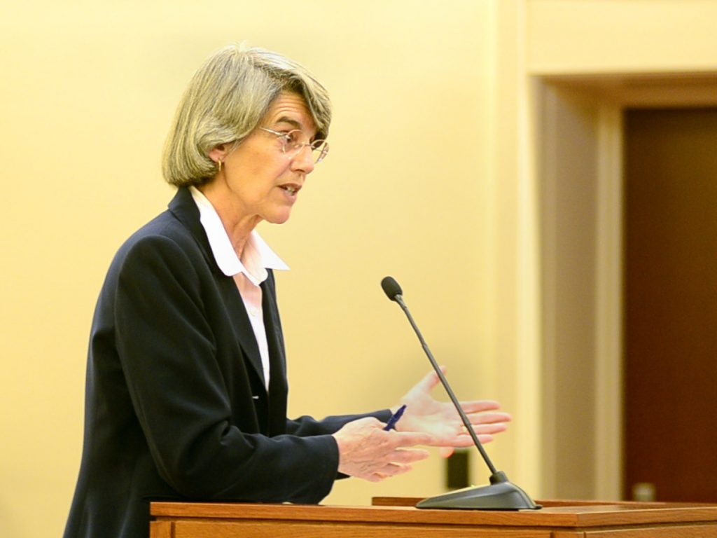 Assistant Attorney General Phyllis Gardiner speaks during Friday's hearing. She says Attorney General Janet Mills is not involved in the case.