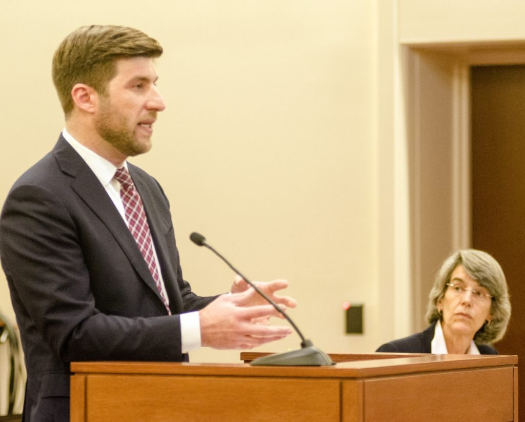 James Monteleone, attorney for the Committee for Ranked Choice Voting, speaks during Friday's hearing before Superior Court Justice Michaela Murphy. Assistant Attorney General Phyllis Gardiner is at right.