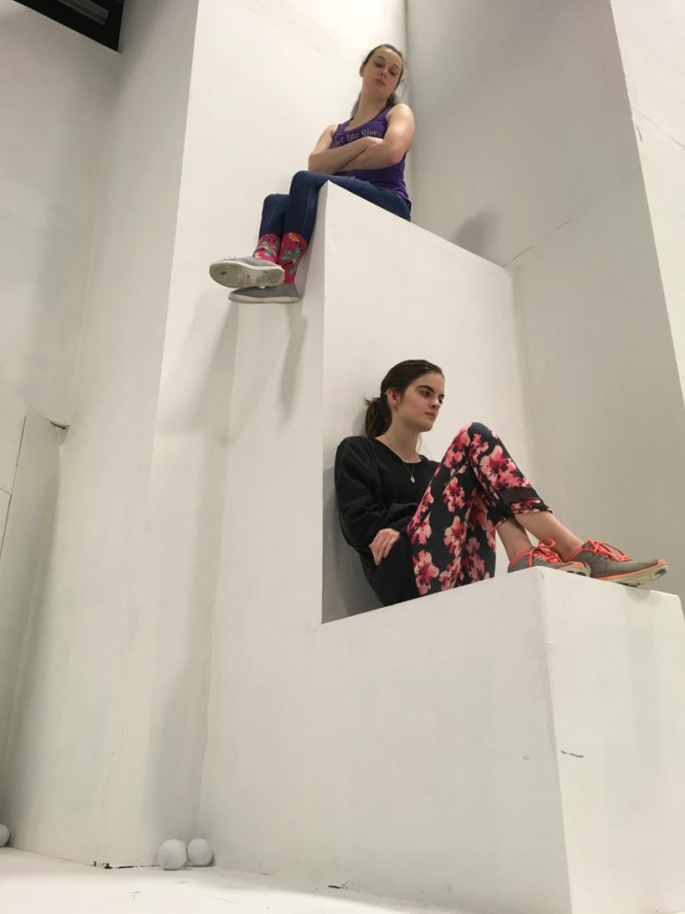 "Chloe Woodward, above, and Lizzie Mitchell rehearse for ""Staring Up at Giants."""