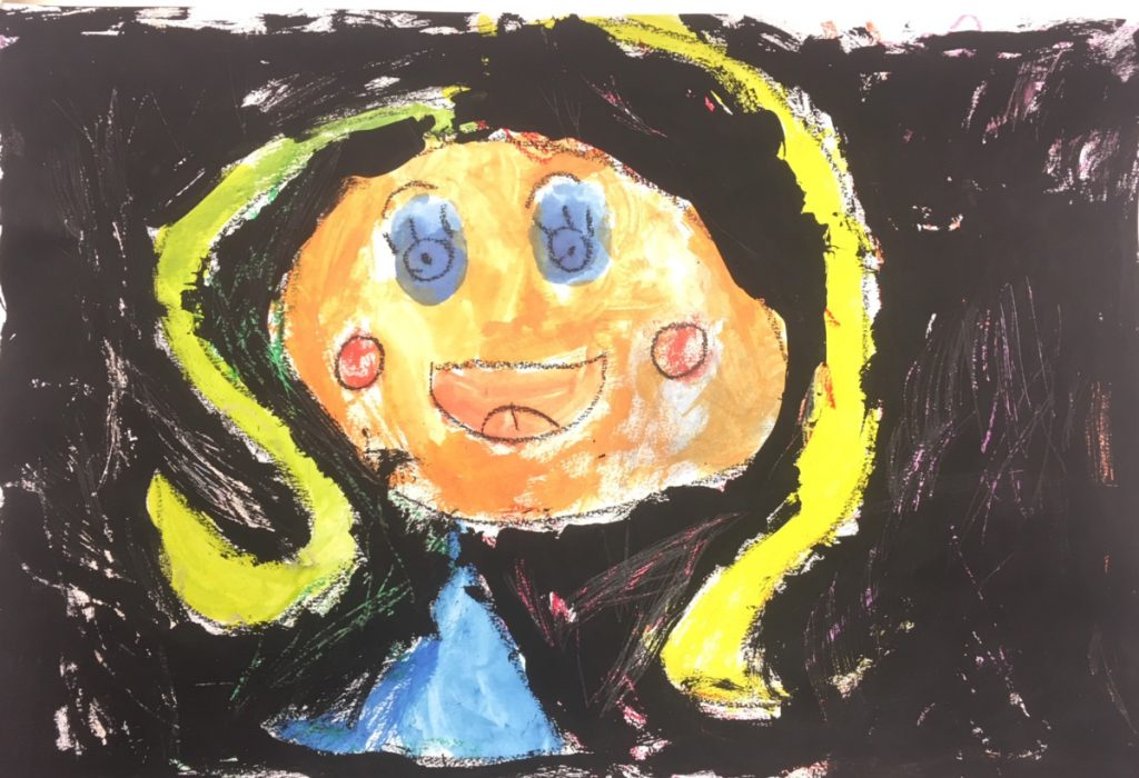 """Self-portrait"" by Pearl, kindergarten, Dresden Elementary School."