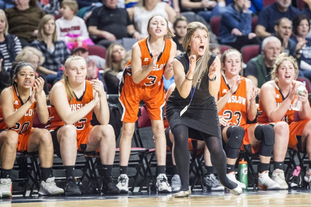 Winslow coach Lindsey Withee reacts during the Class B North championship game against Presque Isle on Saturday at the Cross Insurance Center in Bangor.