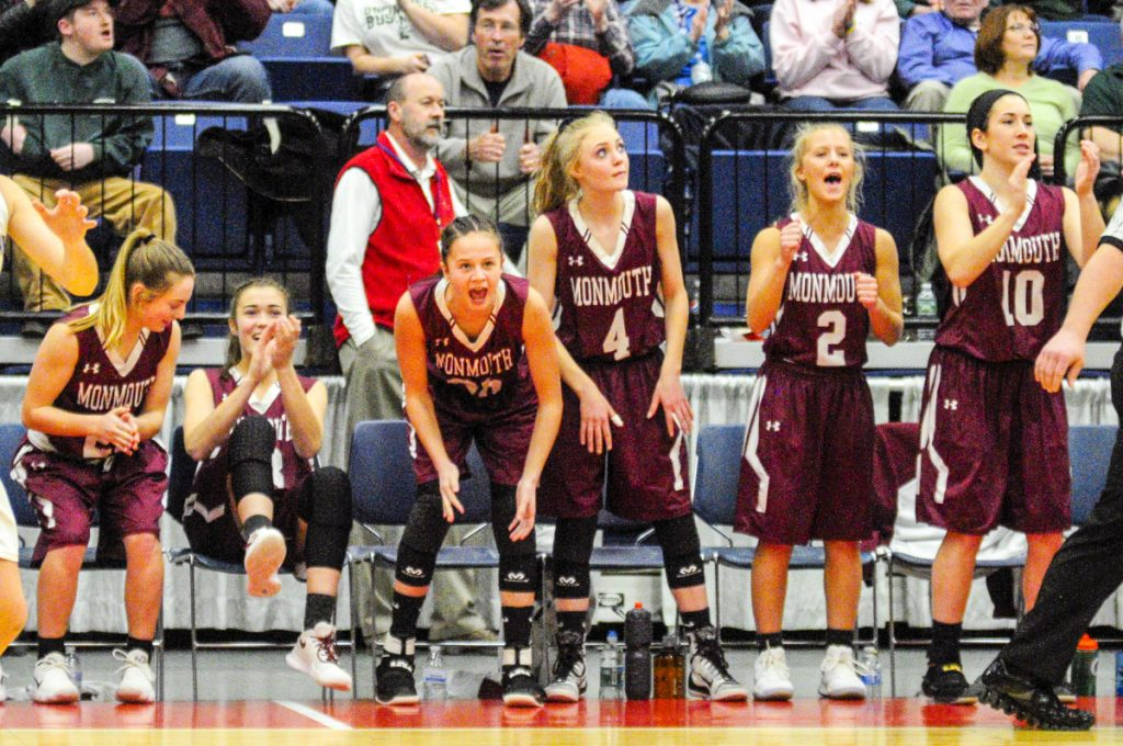 Monmouth players react late in the Class C South final game against Boothbay last Saturday at the Augusta Civic Center.