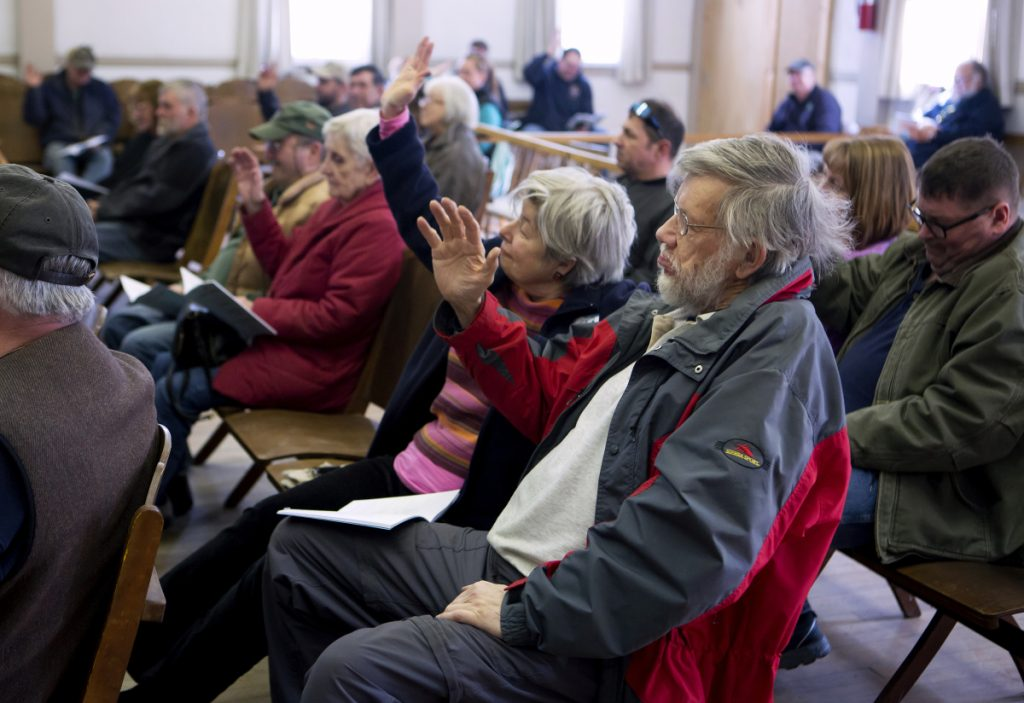 Anna Court, left, and Jonathan Goldthwaite raise their hands to vote for a motion Saturday during Town Meeting at the Cornville Town Hall.