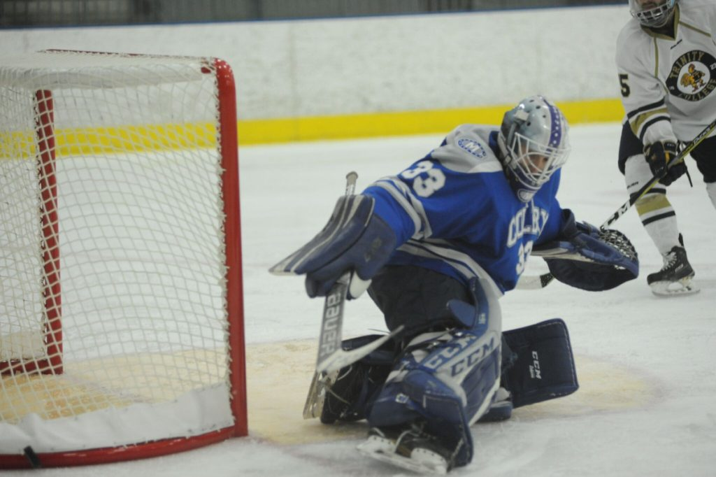Contributed photo Colby goalie Sean Lawrence makes a save against Trinity in the New England Small College Athletic Conference championship game Sunday in Hartford, Connecticut.