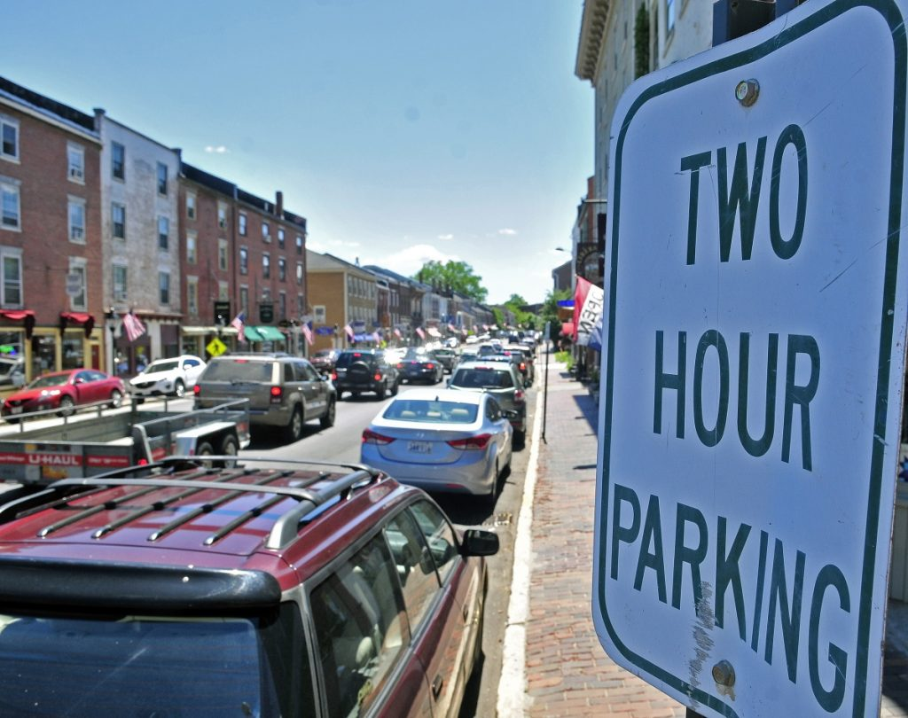 This photo taken on July 11, 2014, shows two hour parking signs on Water Street in downtown Hallowell. The City Council voted in support of moving a crosswalk to the north side of Central Street and not to Dummers Lane amid concerns by residents and business owners of the public safety of pedestrians on the busy downtown thoroughfare.