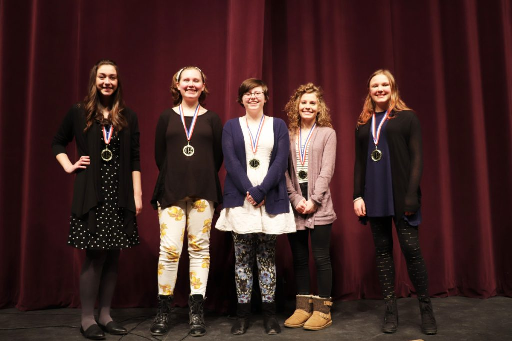 Poetry Out Loud Northern Regional Finalists from left are Lydia Caron, a senior at Bangor High School; Hannah Lavenson, a senior at Messalonskee High School; Lauren Farmer, a sophomore at Rangeley Lakes Regional Schools; Lauren Dodge, a senior at Lee Academy; and Katherine Kemper, a senior at Camden Hills Regional High School.