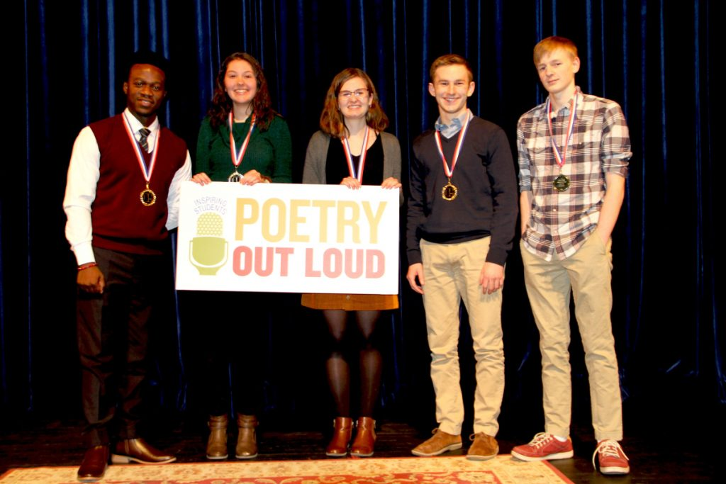 Poetry Out Loud Southern Regional Finalists from left are Allan Monga, a junior at Deering High School; Abbie vanLuling, a senior at Gorham High School; Emma Lombardo, a junior at Westbrook High School; Richard Hilscher, a senior at North Yarmouth Academy; and Wyatt Bates, a junior at Yarmouth High School.