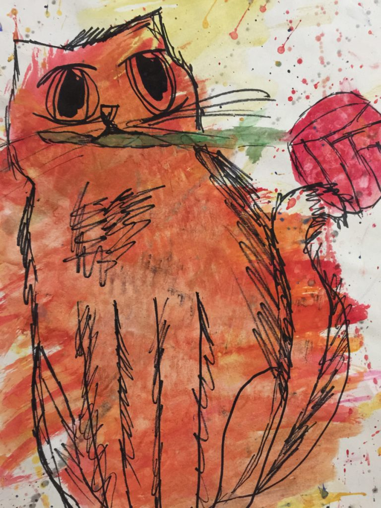 """Cat with Rose,"" a watercolor and ink by Brooke Caswell, a sixth grader from Madison Junior High School."