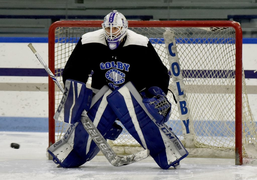 Colby goalie Sean Lawrence maintains his focus during practice Tuesday in Waterville.