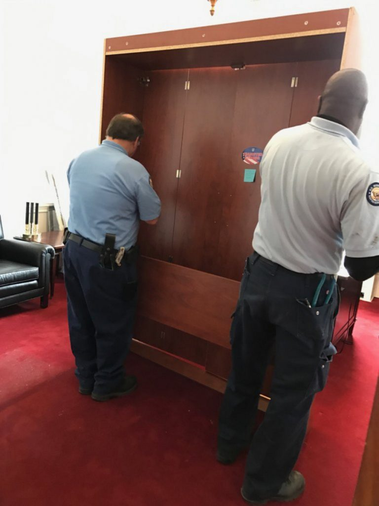 When U.S. Rep. Bruce Poliquin moved to a new office in December 2016 in the Longworth House Office Building, he brought his bed along with him. His office released this picture of workers taking apart his Murphy bed to take it to the new location.