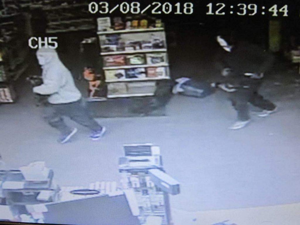 Farmington police are looking for two people who broke into the Maine Smoke Shop early Thursday at 216 Wilton Road, also known as Route 4, in Farmington.