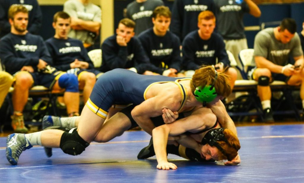 University of Southern Maine sophomore Peter Del Gallo wrestles Bridgewater State's Shawn Ferrell in a 125-pound match on Nov. 4 in Gorham. Del Gallo pinned Ferrell in 48 seconds.
