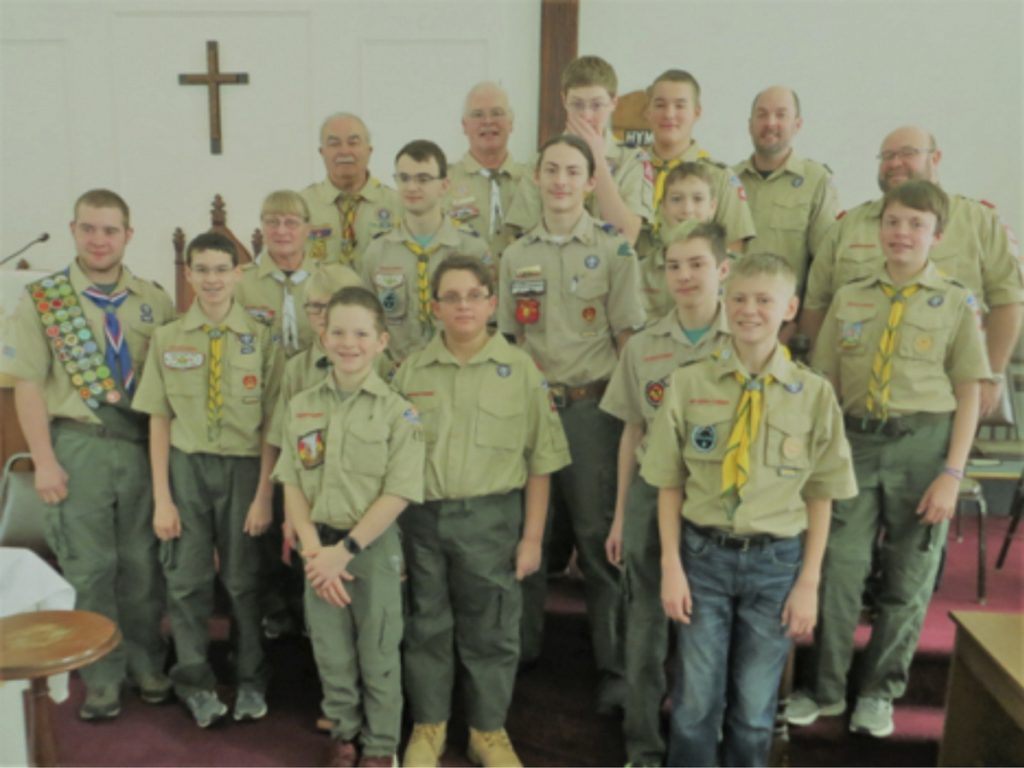 Boy Scouts from Troop 479 with some of their leaders, provided the morning worship service on Boy Scout on Feb. 4, at the China Baptist Church, 36 Causeway Road. In front, from left, are Galen Neal, Roger Files and Sam Boynton. Second row, from left, are Leader Christian Hunter, Aiden Pettengill, Ayden Newell, Michael Boostedt and Hunter Praul. Third row, from left, are Leader Priscilla Adams, Tucker Leonard, Nivek Boostedt and Remy Pettengill. In back, from left, are Leader Ron Emery, Scoutmaster Scott Adams, Alex Stewart, Andrew Weymouth, Leader Darryl Praul and Leader Sean Boynton.