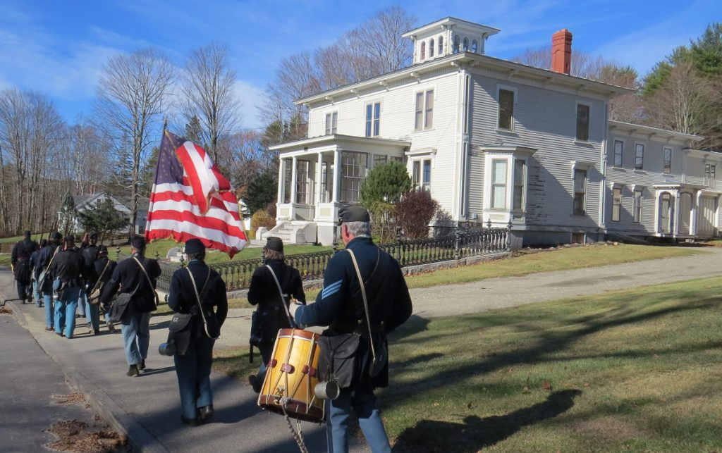 The 3rd Maine Regiment Volunteer Infantry participated in Readfield's Veterans' Day history walk in 2017. Here, some are shown marching down Main Street in front of the circa 1868 Asa Gile Mansion.