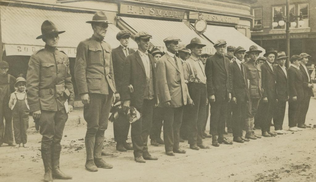 One of the many historical photographs in the Maine State Museum's World War I exhibit is this 1917 recruiting activity in Livermore Falls.