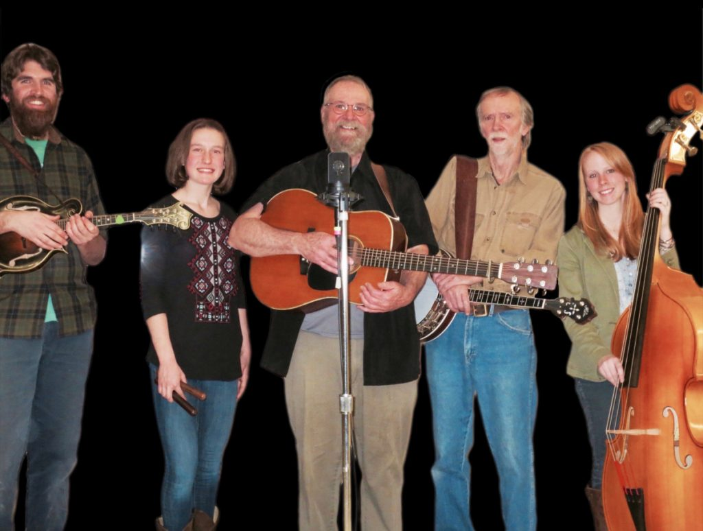 Sandy River Ramblers, from left, are Dan Simons, Dana Reynolds, Stan Keach, Bud Godsoe and Julie Davenport.