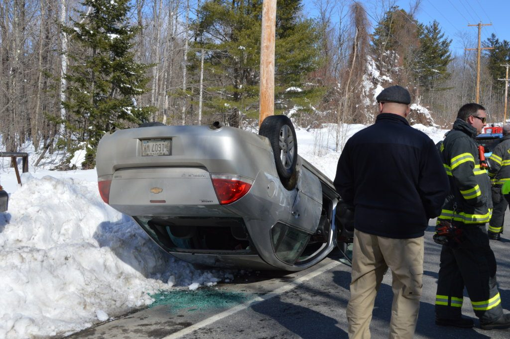 "Brenda Bryson, 62, of North Anson, suffered minor injuries Friday morning when the car she was driving south on Route 27 drifted off the road in New Vineyard and rolled over, Franklin County Sheriff Scott Nichols Sr. said. Deputy Keith Madore said that ""alcohol consumption/intoxication"" was a factor in the crash, according to Nichols."