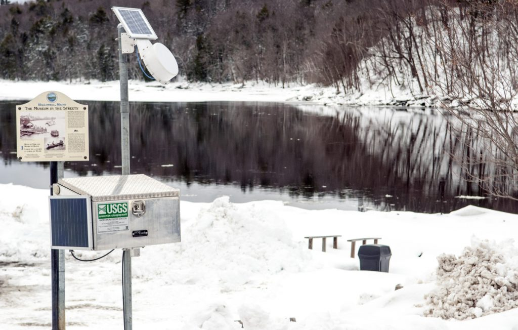 The U.S. Geological Survey recently installed this water monitoring station in Hallowell's Granite City Park on banks of Kennebec River, following destructive flooding in January. Officials say there's a risk of flooding this spring with colder-than-normal temperatures increasing the likelihood of a quick ice melt.