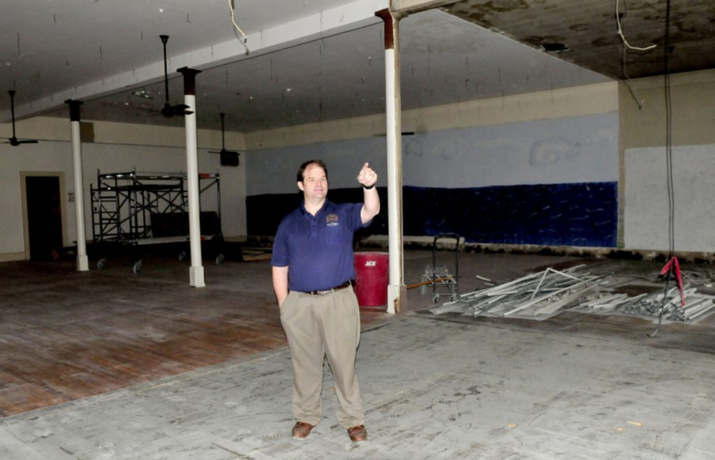 Travis Works, executive director of the Cornville Regional Charter School, shows renovations underway for student work space inside the former Skowhegan District Court. Students whose ages correspond to seventh, eighth and ninth grade attend school in downtown Skowhegan, and by 2020 students up to 12th grade will attend school there.