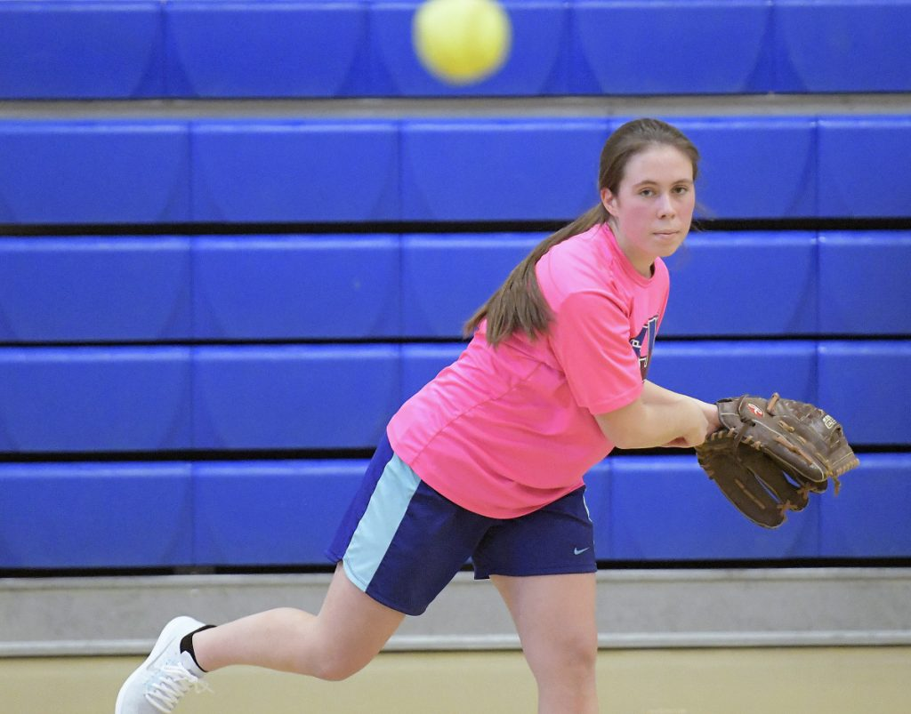 Gardiner senior Meghan Meehan delivers a pitch during practice Monday afternoon in Gardiner.