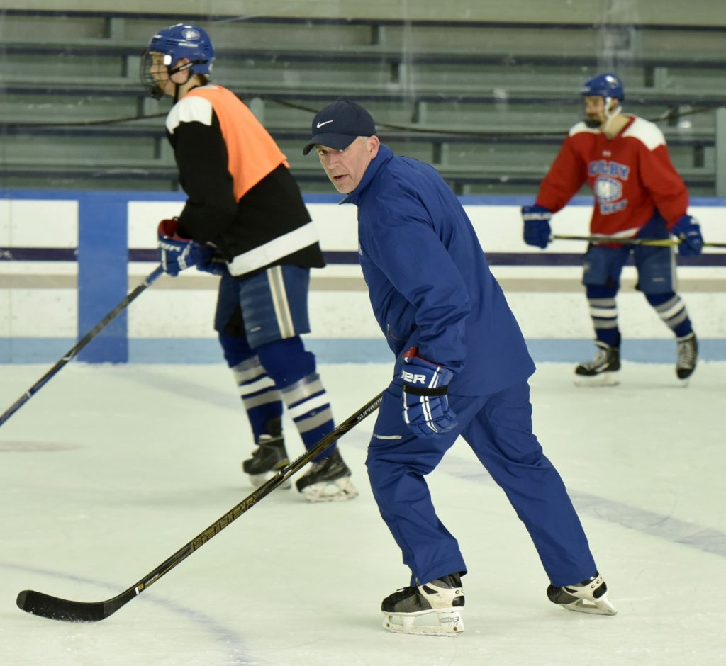Colby College assistant hockey coach Mike Latendresse skates during practice Tuesday in Waterville.