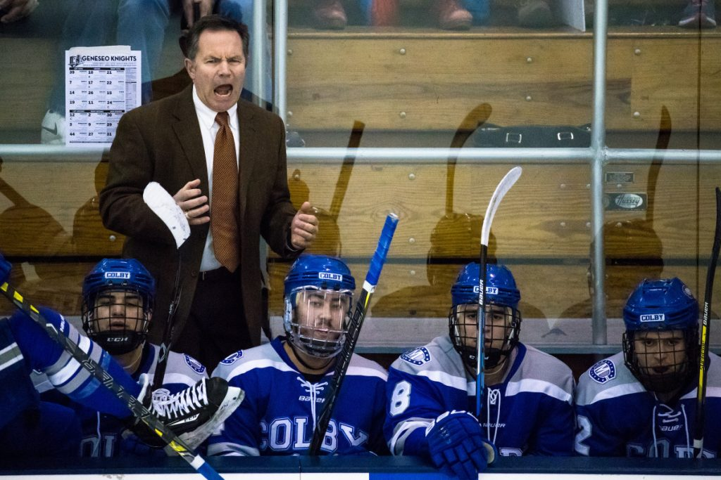 Colby head coach Blaise MacDonald reacts to game action against Geneseo at the NCAA Division III men's ice hockey tournament Saturday in Geneseo, New York.