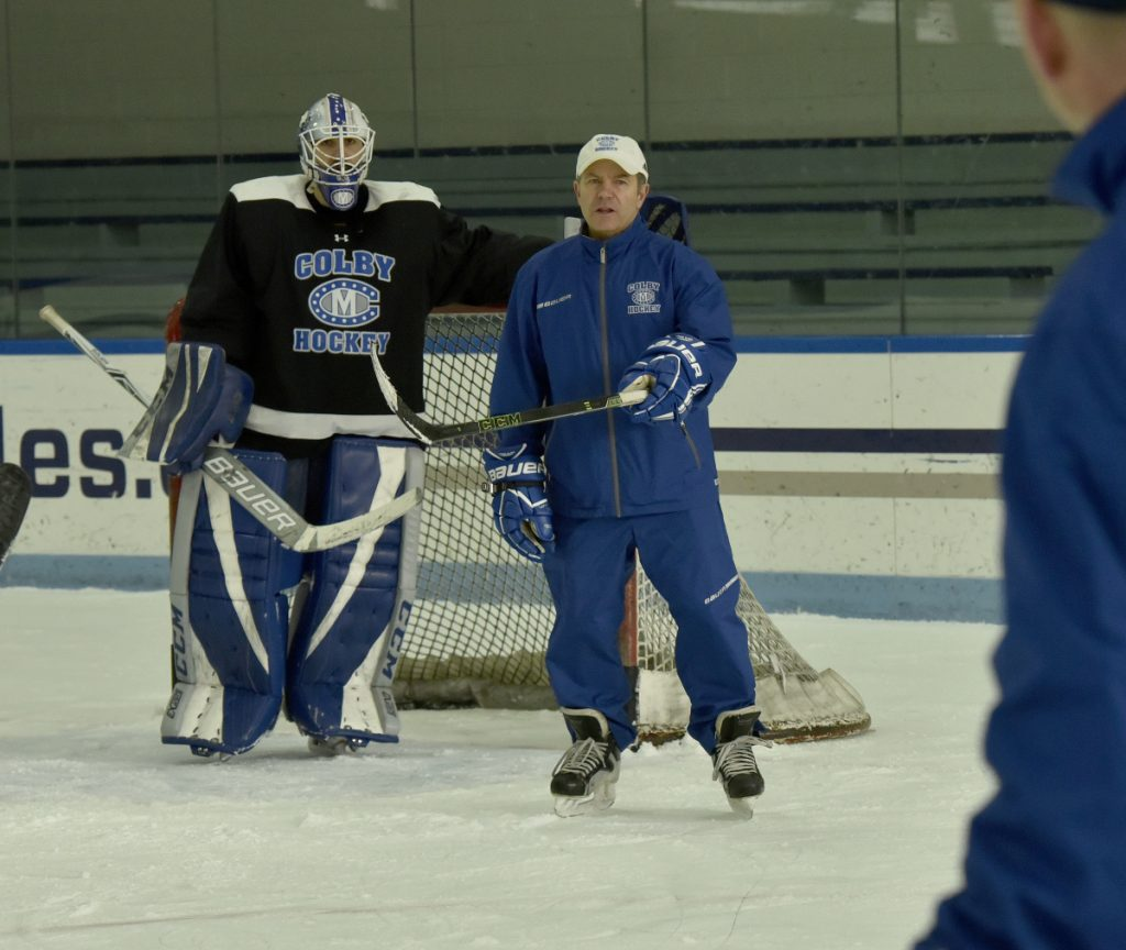 Colby College head coach Blaise MaDonald skates during practice Tuesday in Waterville.