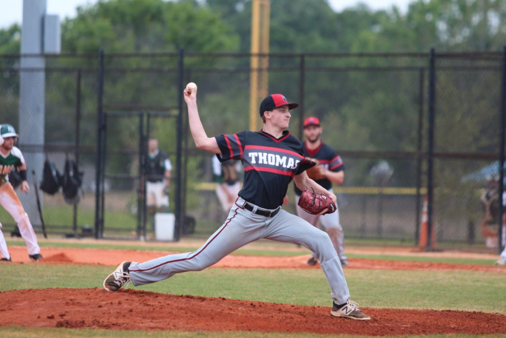 Thomas College pitcher Cody Cousins throws a pitch during a recent game in Florida.