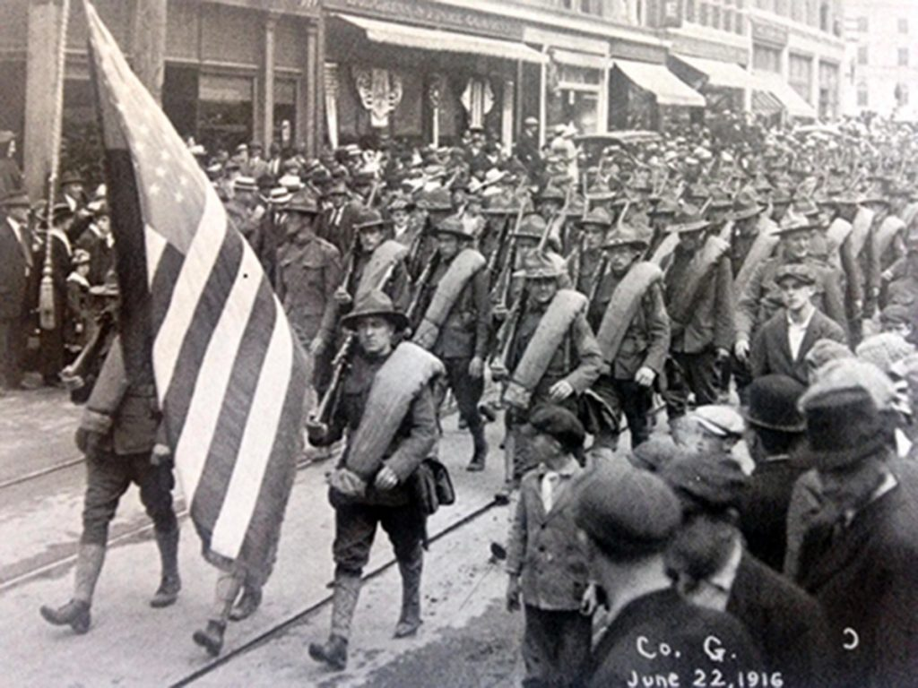 Maine soldiers who mobilized during World War I included two units bound for Texas pictured here on parade in Bangor on June 22, 1916.