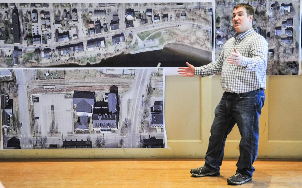 Cody Jean, project superintendent for Sargent Corp., speaks during an open house Thursday in Hallowell City Hall about the upcoming Water Street construction project.