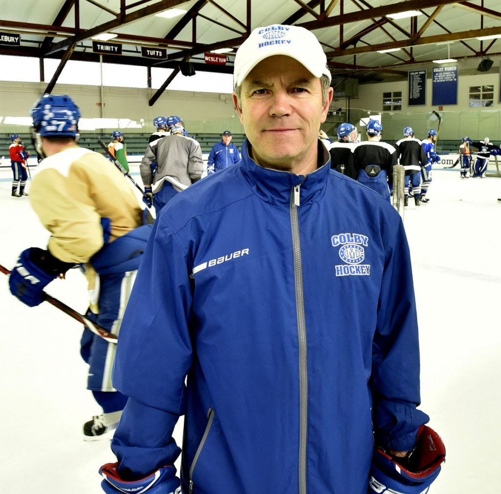 Colby men's hockey coachBlaise MacDonald poses during practice Tuesday in Waterville.