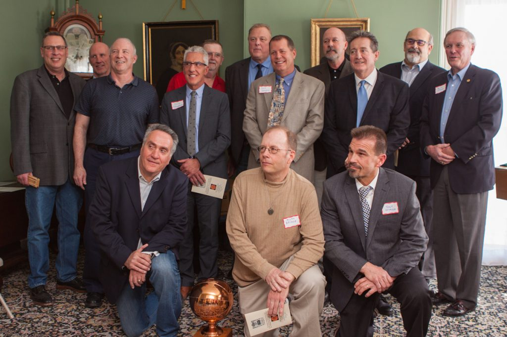Members of the 1978 Cony basketball team included, front row from left to right, Steve Busque, Allyn Bridge and Tony Seymour. Middle row, Steve O'Brien, Doug Drummond, Dave Gallagher, Gary Towle and assistant coach Rusty Atwood. Back row, John Fitts, Mark Sutton, Ralph Colfer, Ray Felt, Kirk Cooper and Augusta Mayor Dave Rollins