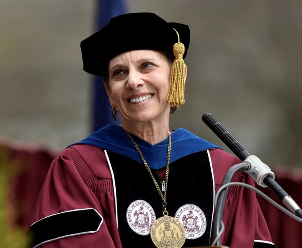 Kathryn Foster, university of Maine at Farmington president, smiles after introducing the recipient of an honorary degree during a May 13, 2017 commencement ceremony in Farmington. Foster is leaving June 30 after six years of leading the university.