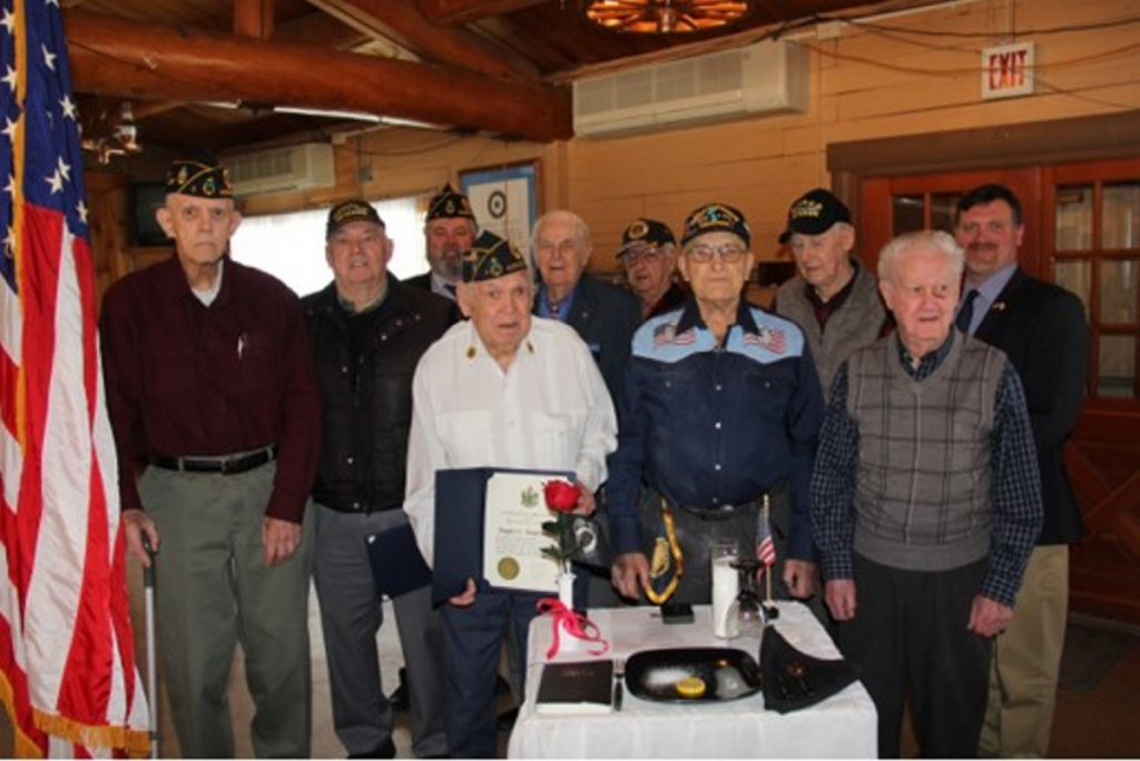 In celebration of the 99th anniversary of the American Legion, Fitzgerald-Cummings American Legion Post 2 in Augusta held a celebration March 11 to honor eight members for their service during World War II and Korea. From left, are Richard Lorenz, Robert Cochran, Cmdr. Howard Betts, of Post 2; Roger Badershall, Leroy Hussey, Francis Harwood, Arvil Farn, Al Dowling, Henry Breton and David Richard, with the State Bureau of Veteran Services.