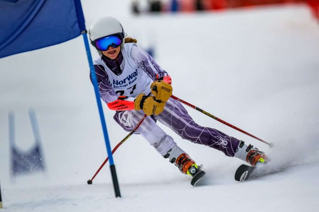 Mt. Blue's Ellie Pelletier skis the lower part of the giant slalom course during  her second run at the class A alpine championships earlier this season at Mt. Abram in Greenwood.