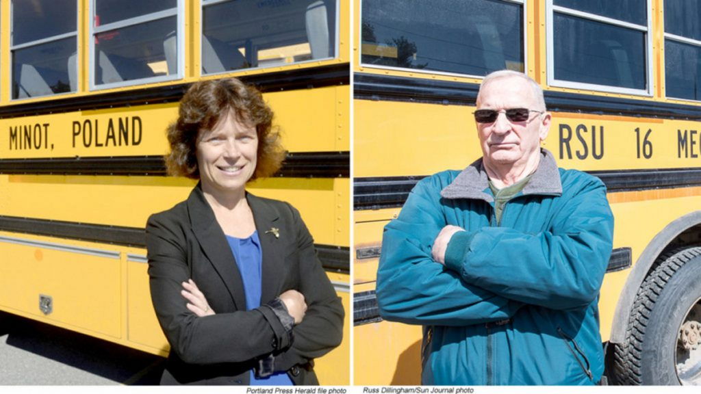 Mike Downing, right, stands in the Regional School Unit 16 bus depot on Tuesday afternoon in Poland. Downing was fired several weeks ago for using racist and sexist slurs and has since been elected to the board of the school system that fired him. RSU 16 Superintendent Tina Reserve, left, would not comment on personnel issues.