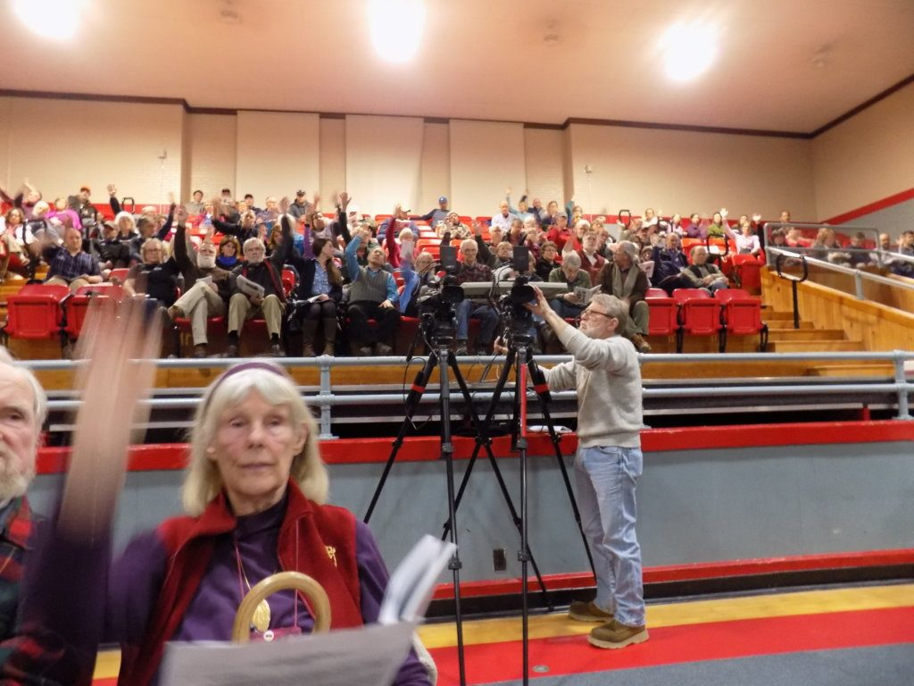 At Town Meeting on Monday night, Farmington voters showed their support for a resolution asking Franklin County commissioners to fund social service agencies and economic development.