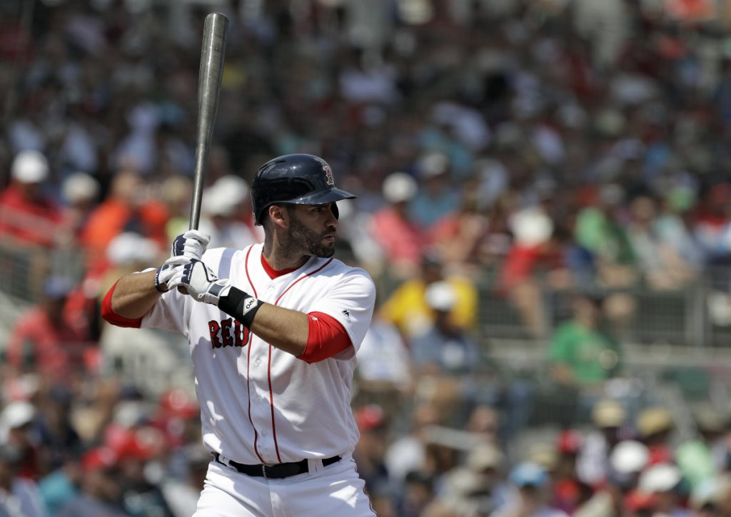 Boston Red Sox slugger J.D. Martinez, shown here in a spring training game against the Philadelphia Phillies in Fort Myers, Florida, on March 19, joins manager Alex Cora as new faces the Sox hope can take the team to the next level. Boston opens the 2018 season Thursday against the Tampa Bay Rays in St. Petersburg, Florida.