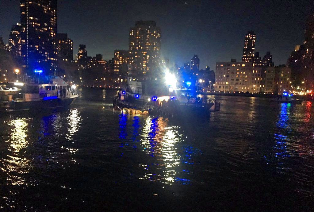 This image made from video shows the scene of the helicopter crash in the East River Sunday night.