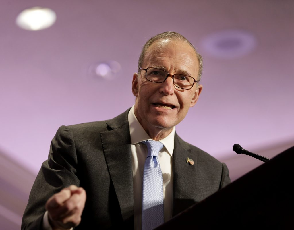 "Larry Kudlow speaks at the New York State Republican Convention on May 14, 2014, in Rye Brook, N.Y. For a decade and a half, Kudlow has been a fixture on CNBC. On Tuesday, March 13, 2018, President Donald Trump said he was looking ""very strongly"" at naming Kudlow, who has spent decades writing and speaking about economic policy, to be director of the National Economic Council."