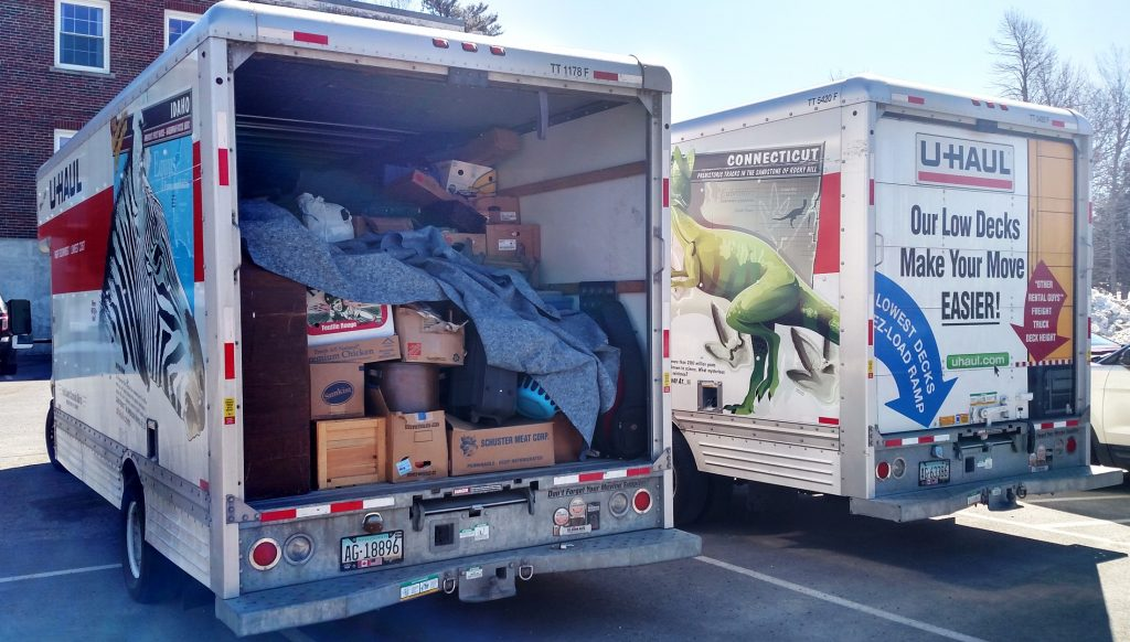 Police say they seized enough stolen items from the home of a Thomaston man to fill two U-Haul trucks on Monday.