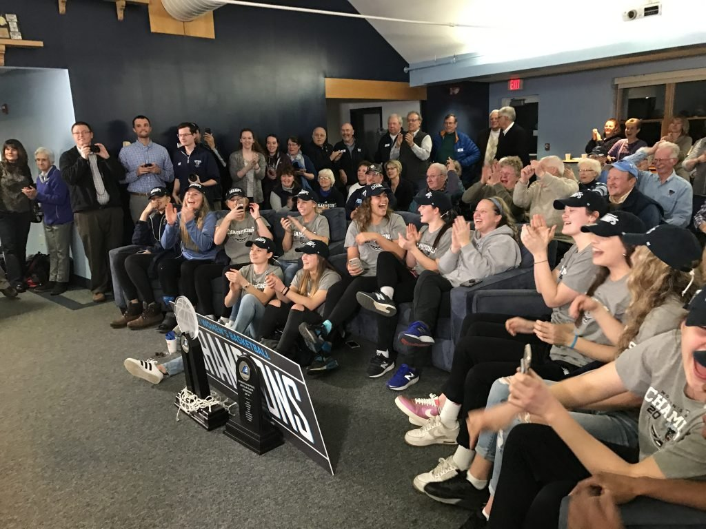 The University of Maine women's basketball team reacts Monday after it was announced it would face Texas in the first round of the NCAA women's basketball tournament.
