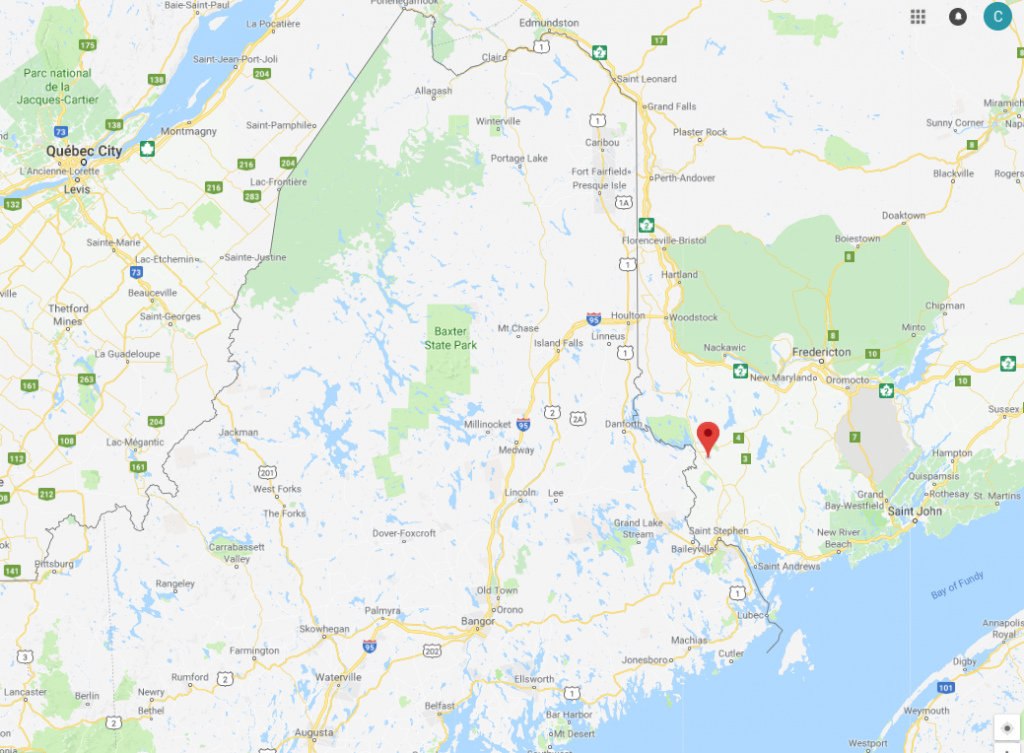 A small earthquake was recorded Tuesday along the Maine-Canada border, north of Calais.