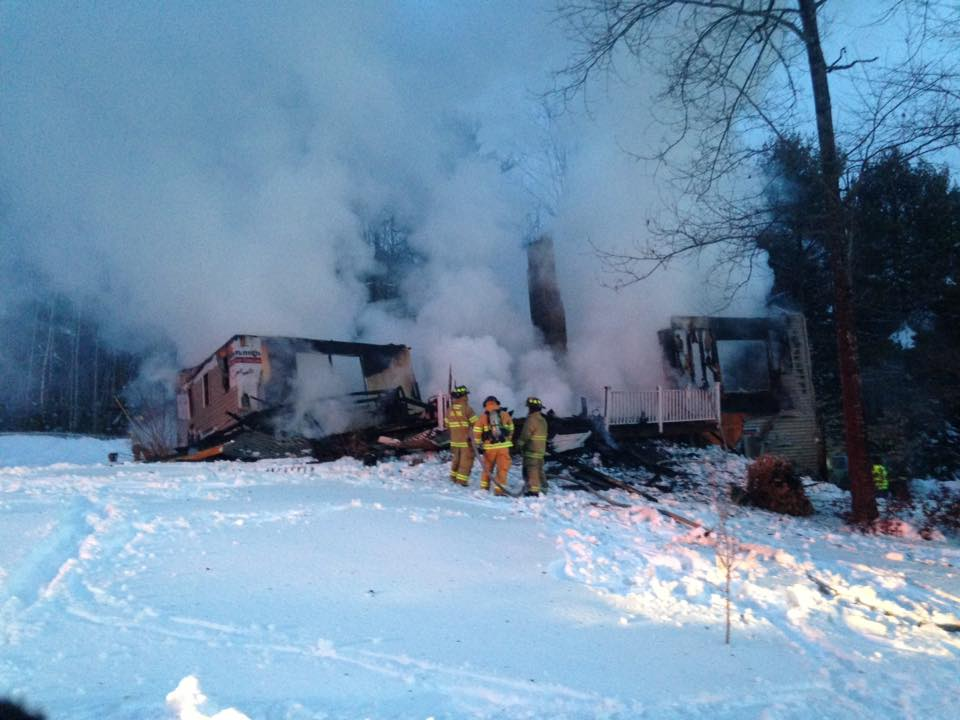 A home on Island View Drive in Greene was destroyed by fire early Sunday.