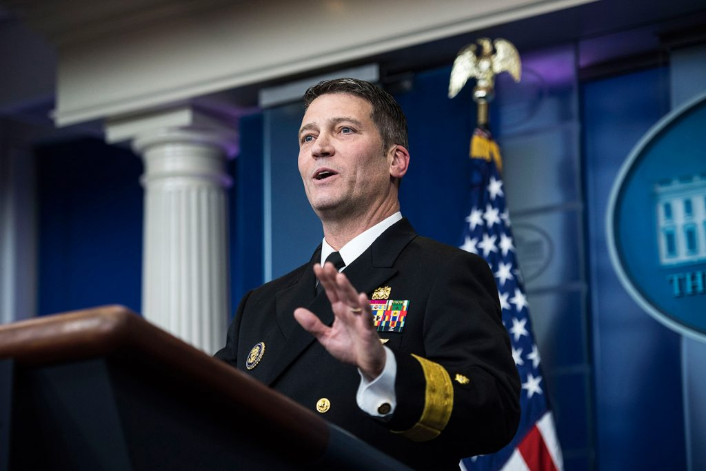 The president announced that he will nominate Rear Adm. Ronny Jackson, his personal physician, to replace David Shulkin as Veterans Affairs secretary.