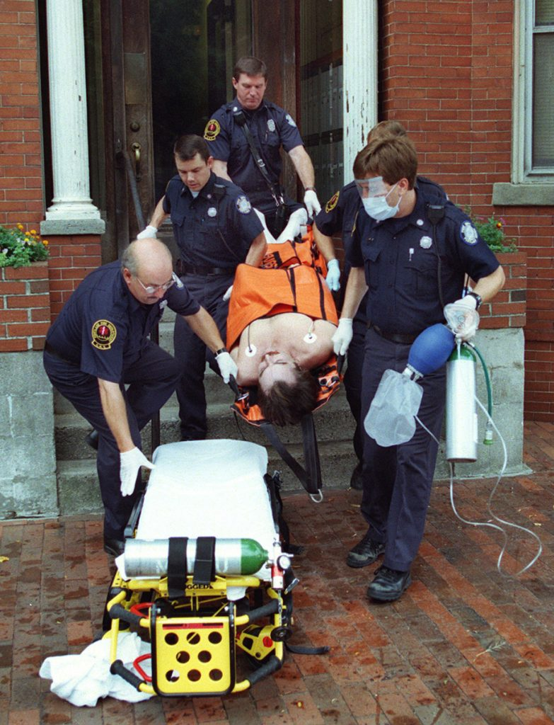 Responding to a report of a cocaine overdose, a Portland fire and emergency crew rushes a man to Maine Med in 1999; he died four days later. Solving our drug crisis will require financial support at the local and state levels.